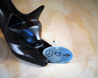 Personalized Cat Tag - Pet Tags - Pet ID Tag - Dog Tag - Dog ID Tag - Custom Dog Tag - Cat Tag - custom pet tag - Peace Love Fish