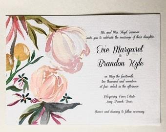 Wedding invitation Sample. Hand painted invitations. Custom wedding artwork. Watercolor stationery.