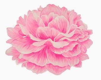 peony print flower print peony painting fuchsia flower pink peony pink