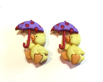 Duck Buttons With Umbrella Jesse James Buttons Puddle Jumpers Dress It Up Buttons Set of 2 Shank Back - 741 A