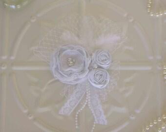 Custom Designed Vintage Inspired White Wedding Hair Accessory