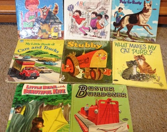 Vintage lot of 8 children's books - rinty, stubby, what makes my cat purr, buster bulldozer, little bear, cars and trucks