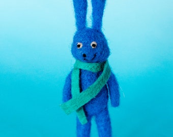 Needle Felted Blue Rabbit