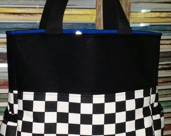 Racing Baby Diaper Bag with Four Pockets Inside, Two Bottle Holders on the side.