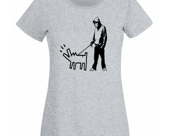 Womens T-Shirt with Banksy Street Art Graffiti Design / Boy with Dog Shirts / Choose Your Weapon Tee Shirt + Free Decal Gift