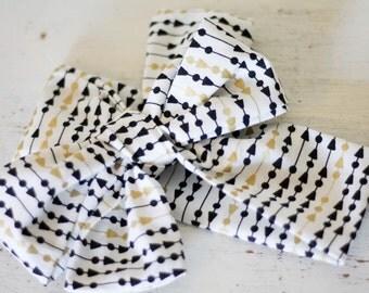 Baby headband; Rosie Wrap-headwrap; gold and black fabric head wrap; newborn headband; baby headband; toddler headband; adult headband; girl