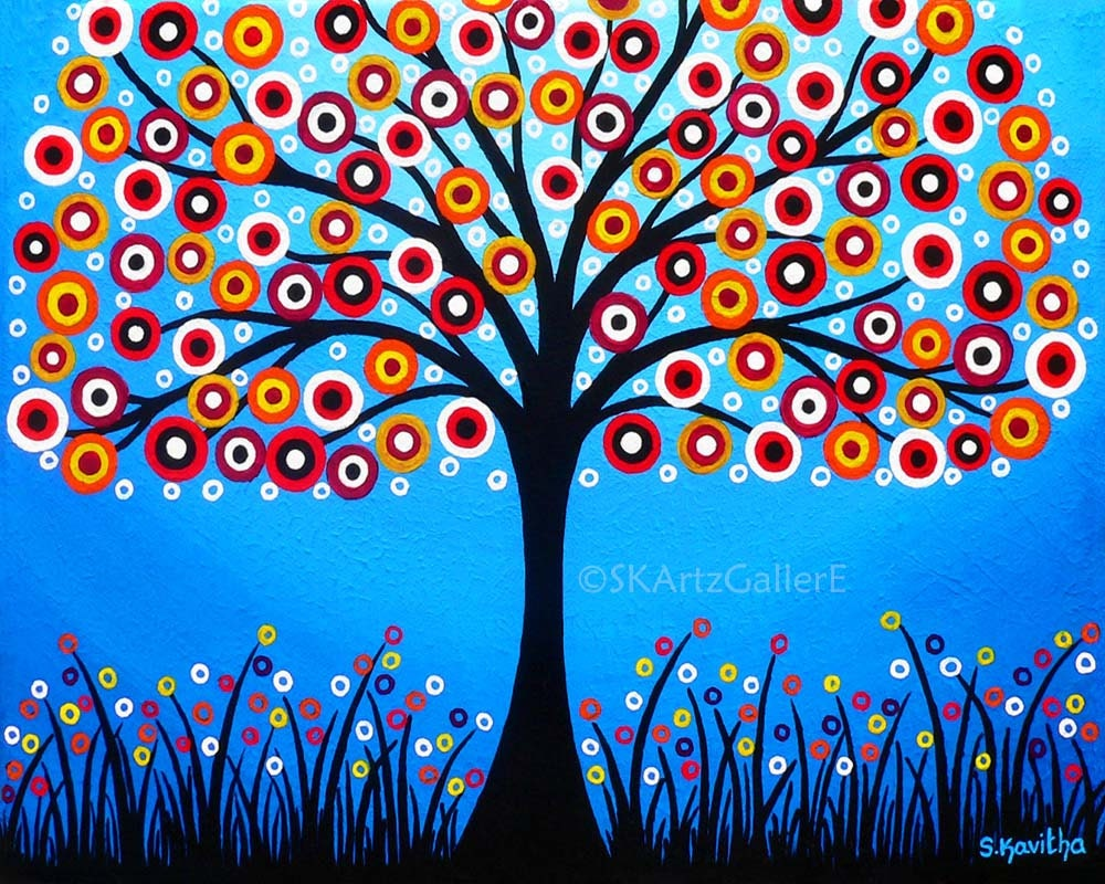 Whimsical Tree Art Giclee Print Of Original Painting