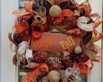 Happy Fall Door Wreath~ Front Door Wreath~ Pumpkin Fall Door Decoration~Deco Mesh Fall Wreath~ Door Wreath~Autumn Wreath~