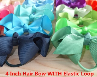 40 Colors Available,4 inch Hair bows WITH Elastic Loop,Ponytail bows,Pony Tail Holder,Hair Elastic with bow,Baby/girl hair accessories