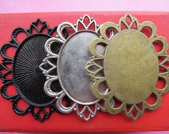 30x40mm Pendant Tray, Bezel Setting, 30x40mm Cabochon Tray - Antique Bronze,Antique Silver,Black