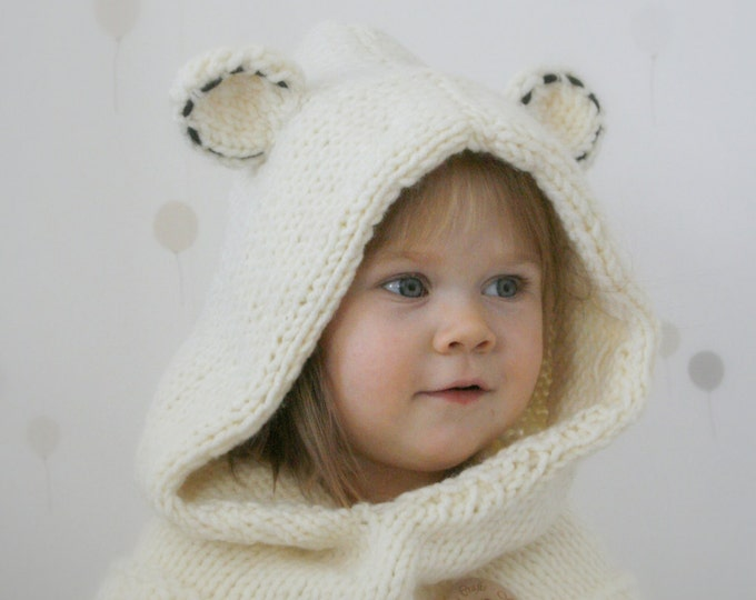 KNITTING PATTERN polar bear hooded cowl Popi (baby, toddler, child, teen, adult sizes)
