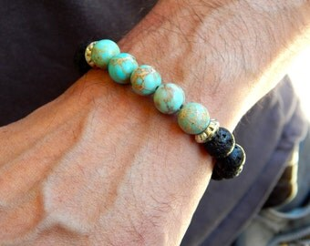Bracelet in black lava stone, turquoise stone and antique silver