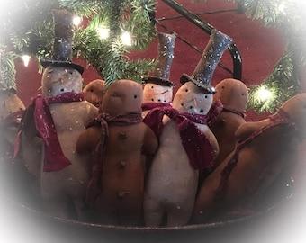 Primitive set of 8 Christmas Holiday bowl filler ornaments