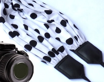 Scarf camera strap. Dots camera strap. DSLR / SLR Camera accessories. Black and white camera strap from InTePro