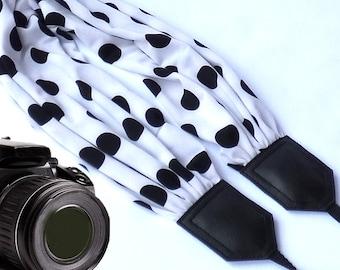 Scarf camera strap. Polka dot camera strap. DSLR / SLR Camera accessories. Black and white camera strap from InTePro