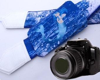 Camera Strap with pocket. Mermaid Camera Strap. Ocean camera strap. Sea camera strap. Camera accessories. Photographer gift.