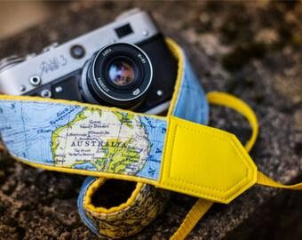 Yellow North America,  Australia map camera strap. DSLR  / SLR Camera Strap. World Map Camera Strap. Photo camera accessories.