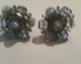 Vintage Blue Earrings Glass Cluster Costume Jewelry