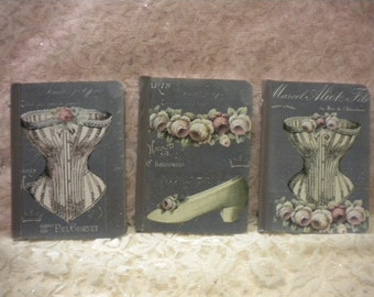 Small Altered Journals :  Shabby Vintage Paris / French Fashion / Corset (3)