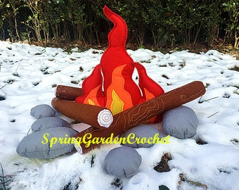 Back to school gift/Labor Day gift/Campfire Play Set/Felt Campfire/Montessori Toy/Faux Campfire/Pillow/Pretend/Teepee/Accessory, Decor, Prop