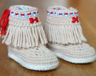 CROCHET PATTERN Baby Booties Fringe Moccasins 3 Sizes Photo Style Baby Shoes Pattern Instant Download Digital File