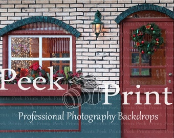 8ftx6ft Vintage Holiday Store Front- Santas Workshop Vinyl Photography Backdrop - Holiday Background