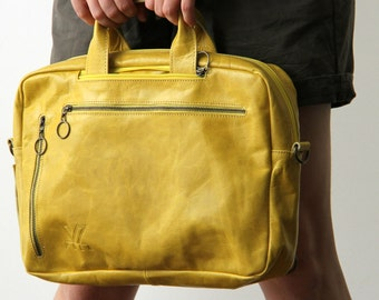 Yellow Laptop Backpack, Leather Backpack for Women, Designer Laptop Bag, Convertible Bag, Leather Crossbody Bag, Shoulder Bag, Computer Bag