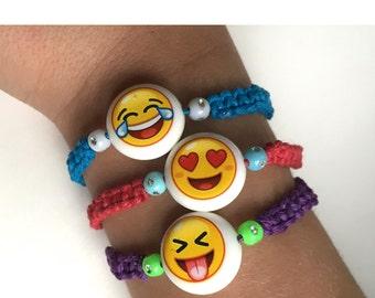 Emoji Bead Hemp Macrame Bracelet