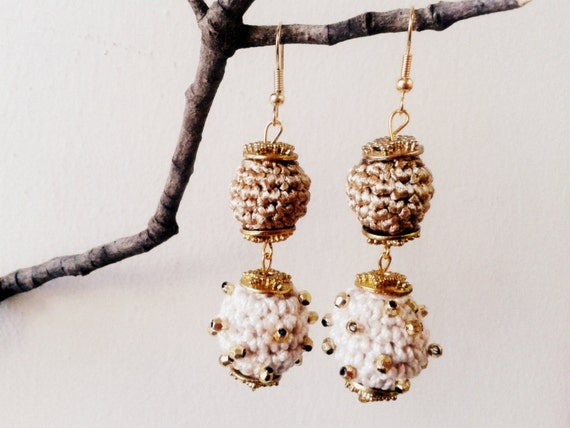 Ivory and Gold Dangling Ball Earrings