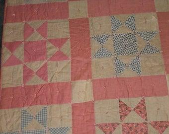 Antique Patchwork Ohio Star Pink Blue Hand Sewn Quilt