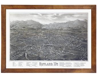 Rutland, VT 1885 Bird's Eye View; 24x36 Print from a Vintage Lithograph