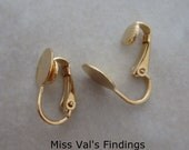 20 pad gold clip on earclips 9mm