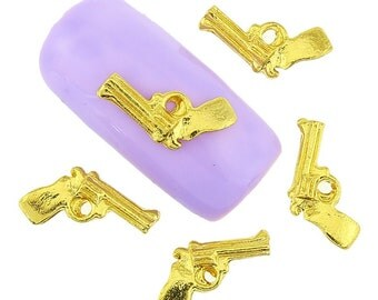 Gold Gun Nail Charm 2pcs / Nail Art
