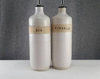 Made to order** Ceramic olive oil cruet, stoneware oil pourer, pottery oil bottle, oil and vinegar ceramic bottle, Gold Wax