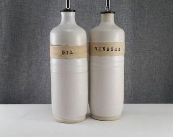 Made to order(up to 3 weeks)**Ceramic olive oil cruet, stoneware oil pourer, pottery oil bottle, oil and vinegar ceramic bottle, Matte White