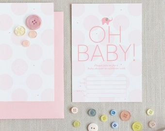 OH BABY! Girl baby shower invitations 10 pack set (169)