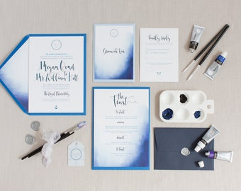 Nautical Watercolour Wedding Stationery Suite