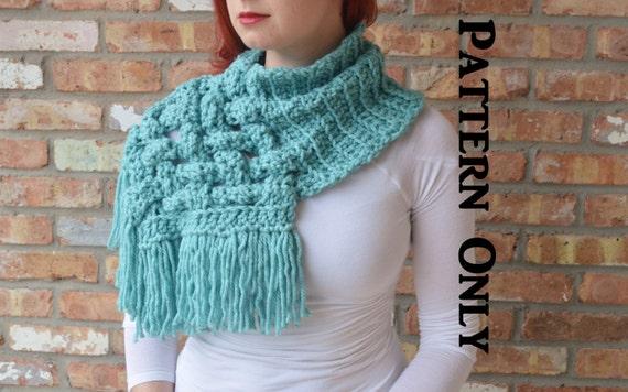 PATTERN: The Celtic - Crochet woven cowl scarf. Giant scarf, chunky scarf,  cabled, cowl scarf, crochet cowl, giant cowl, chunky cowl