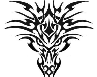 Silhouette Tribal Dragon Head (Stencil for Fabric Dyeing, glass etching, etc.)