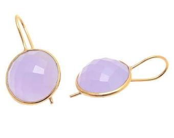 Earring 925 Sterling Silver Lavender Chalcedony Gemstone Earring-Vermeil Gold