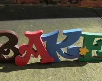 Wooden letters sign, BAKE
