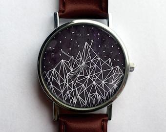 Geometric Mountain Unisex Watch, Ladies Watch, Men's Watch, Minimalist, Nature, Modern, Geometry, Aztec, Navajo, Analog, Gift Idea