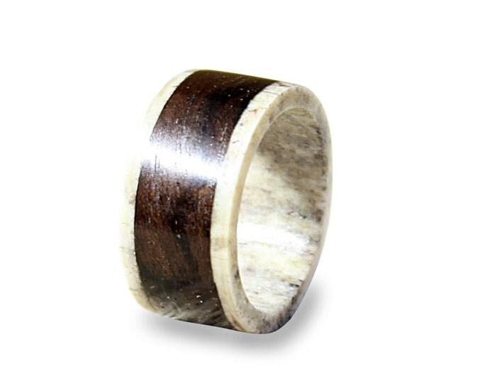 Antler men ring ebony wood ring unisex ring
