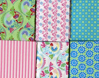 FQ Bundle Green Blue Ella Blue Cotton Fabric, 6 Fat Quarters