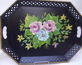 Vintage Black Metal Tole Painted Tray Reticulated ET Nash Co Tole Handles
