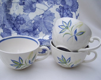 2 Blue Swirl Teacups Only Terrastone Hand Painted