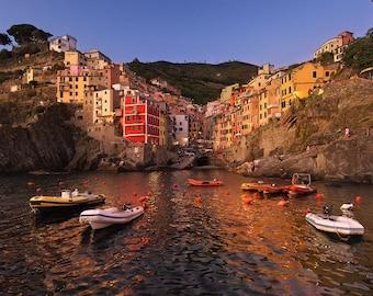 Fishermen's Harbor, Riomaggiore, Cinque Terre, Liguria, Italy, Mediterranean Sea, Fishing Village - Travel Photography, Print, Wall Art