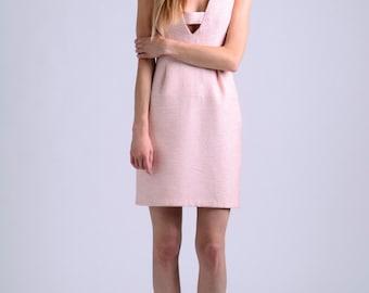peach light pink plunging dress / occasion dress / wedding dress / bridesmaids dress / mini dress