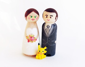 Wedding Cake toppers - wedding Figurines - Pokemon Cake toppers - peg doll