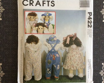 "Free Shipping - Doll Pattern McCalls P422 Dolls 25"" Clothes 3 Dolls With Wardrobe Kids Dress Hat Craft Sewing Patterns uncut"